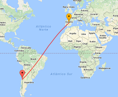 Distance between Chile and Spain